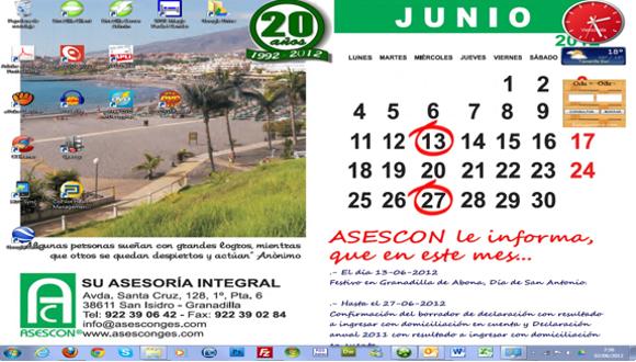 Fondo Wallpaper, Escritorio Junio 2012